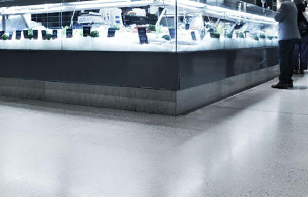 Store floor with commercial finish